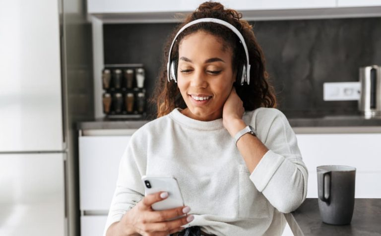 Girl Listening To Working It Careers Podcast